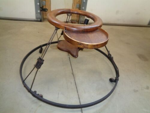 Antique - Wooden/ Steel  Baby Walker - With Adjustable Wooden Seat & Tray