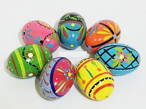 Wooden Easter Eggs - HAND PAINTED - 10 each decorations egg - PISANKI