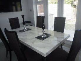 Alfrank Marble dining table with 6 chairs