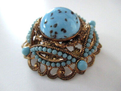 VINTAGE BROSCHE ° Blauer Glasstein ° Türkisfarbene Steine ° vergoldet °