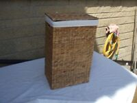 WICKER LAUNDRY BASKET WITH LINING 6 MONTHS OLD
