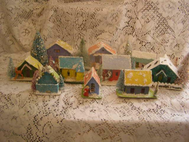 """Vintage 10 Japan Putz Cardboard Houses Upcycled (Changed) 3"""" --5"""" Cute Additions"""