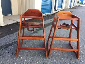 Two solid wood baby high chairs - perfect for twins London Ontario image 1