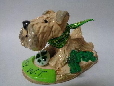 """HAND SCULPTED~WHEATEN TERRIER """"LUCKY DOG"""" LUCKY CHARMS ART FIGURINE~"""