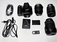 Nikon D5000 DSLR with lenses and bag