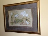 Gold Toned Framed White Orchid Picture