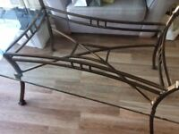 Glass and bronze dining table and matching console table