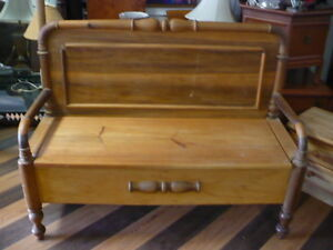Solid Pine Bench With Storage At Round About Treasures