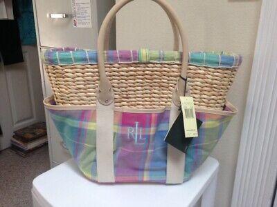 LAUREN Ralph Lauren Madras Tote Beach Bag - new with Tags - Beautiful! Ralph Lauren Beach Tote