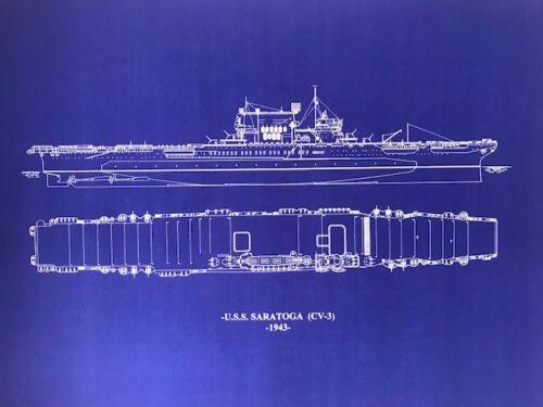 USN Carrier Saratoga WW2 CV-3 Blueprint ships plan 20x26 (023)