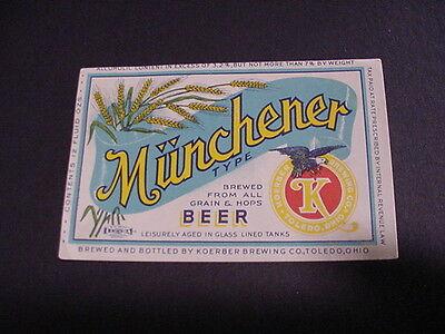 MUNCHENER Beer IRTP Label - Toledo, OH - Unused