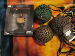 The Game of Thrones Tyrion Lannister figure/3 dragon egg stuffie