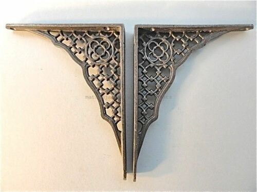 PAIR OF GOTHIC REVIVAL CAST IRON SHELF BRACKETS WALL BRACKET ANTIQUE STYLE