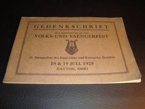 1925 Saengerfest Booklet, Dayton, Ohio