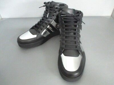 Auth GUCCI Double G Black Silver Leather Sneakers Men
