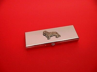 Cavalier King Charles Spaniel Motif on Seven day chrome polished pill box gift