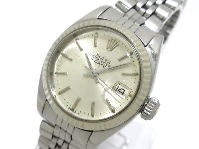 Auth ROLEX Oyster Perpetual Date 6917 Silver 18K White Gold 4235581