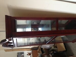 Wood display cabinent glass shelves with light