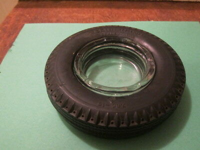 VINTAGE ASHTRAY RUBBER TIRE SEIBERLING SEALED-AIRE WITH GLASS INSERT
