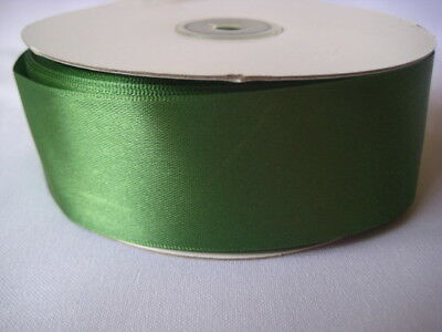 CLOVER GREEN  50 YD ROLL DOUBLE FACE SATIN RIBBON 1 1/2