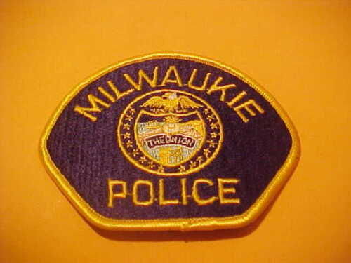 MILWAUKIE  OREGON POLICE PATCH SHOULDER SIZE UNUSED  BLUE BACKGROUND