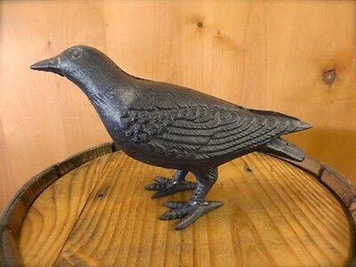 "BROWN HEAVY CAST IRON 10"" STANDING CROW RAVEN BIRD STATUE FIGURINE home garden"