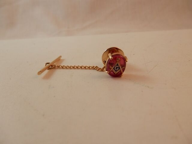 14K Masonic  Tie Pin Red stone backing Label pin Tie Tack 14K Yellow Gold