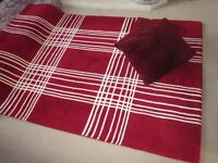 Wool rug - dark red with cream lines plus 2 cushions