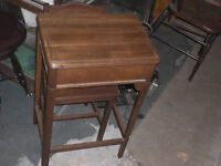 Retro walnut telephone table and matching chair