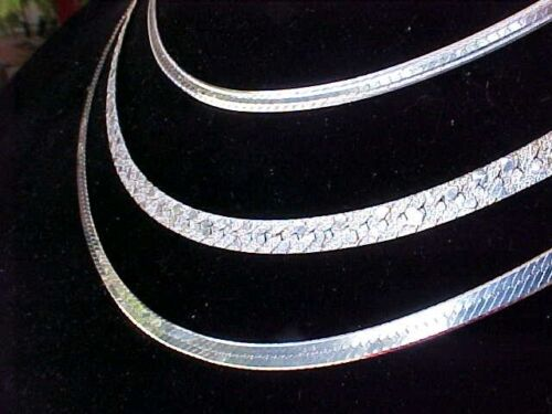 """Lot 3 Vintage Solid Sterling Silver Flat Chains 15 1/2"""" 18"""" 20"""" 35 Grams"""