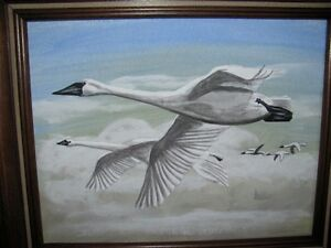 Acrylic Painting.  Swans.  For sale by artist