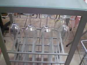 Kitchen Table with wine glass racks