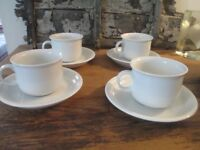 Vintage White Cups and Saucers