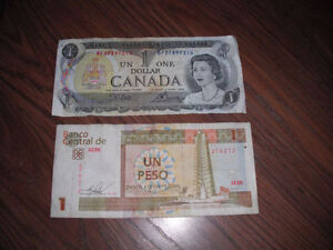 2 banknotes and over 70 coins(canadian & world)