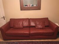 Leather 3 Seater, 2 Seater Sofa with Footstool