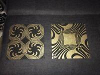gold and black glitter wall art