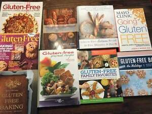 Gluten-free cooking and baking books.