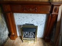 fire surround medium oak with hearth and gas fire