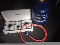 Portable gas stove, Gas Regulator and 12 kg Calor Gas Bottle