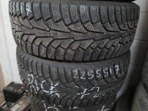 225/55 R17 NOKIAN NORDMAN S WINTER TIRES USED SNOW TIRES (3 TIRES ONLY - $225.00 FOR ALL THREE) - APPROX. 85% TREAD