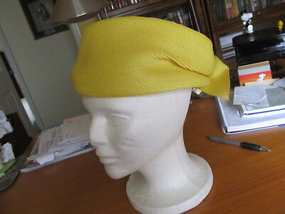vintage womens hat Lucila Mendez yellow straw , grosgrain ribbon