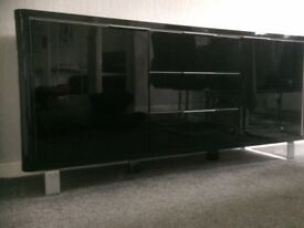 BLACK HIGH GLOSS SIDEBOARD STORAGE UNIT EXCELLENT CONDITION