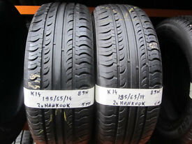 K14 2X 195/65/14 89H HANKOOK OPTIMO K415 1X5MM 1X6MM TREAD