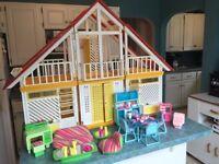 Vintage 1978 Mattel Barbie Dream House and Furniture