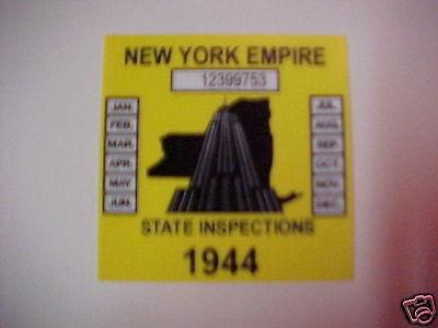 new york 1944 inspection sticker windshild