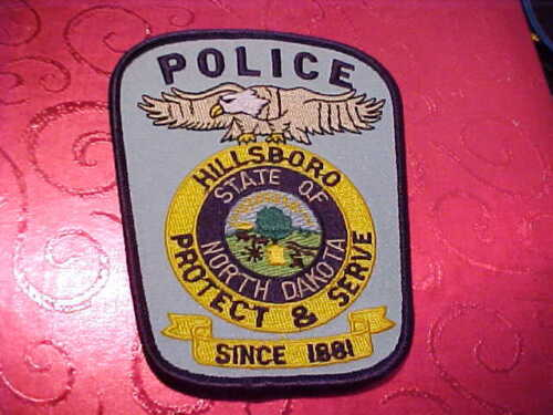HILLSBORO NORTH DAKOTA POLICE PATCH SHOULDER SIZE UNUSED