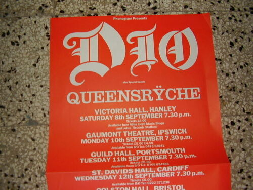 DIO UK 1984 TOUR PROMO POSTER QUEENSRYCHE TRIFOLD 1 METER LONG