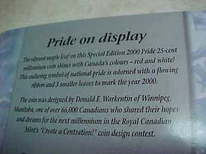 2000 Pride Proud To Be Canadian Coloured Maple Leaf Quarter!! London Ontario image 2