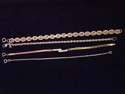 Group/ Lot of Four Gold Tone Chain Bracelets