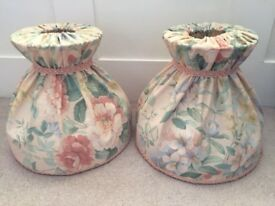 Two peach floral lampshades with frills. Collect from Fulham or Chichester or I can courier